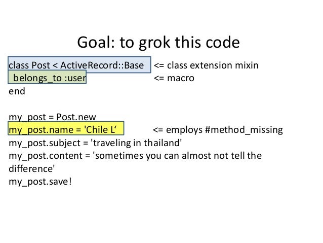 Goal: to grok this codeclass Post < ActiveRecord::Base <= class extension mixin belongs_to :user               <= macroend...