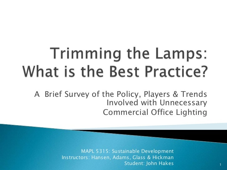 Trimming the Lamps: What is the Best Practice? <br />A  Brief Survey of the Policy, Players & Trends  Involved with Unnec...