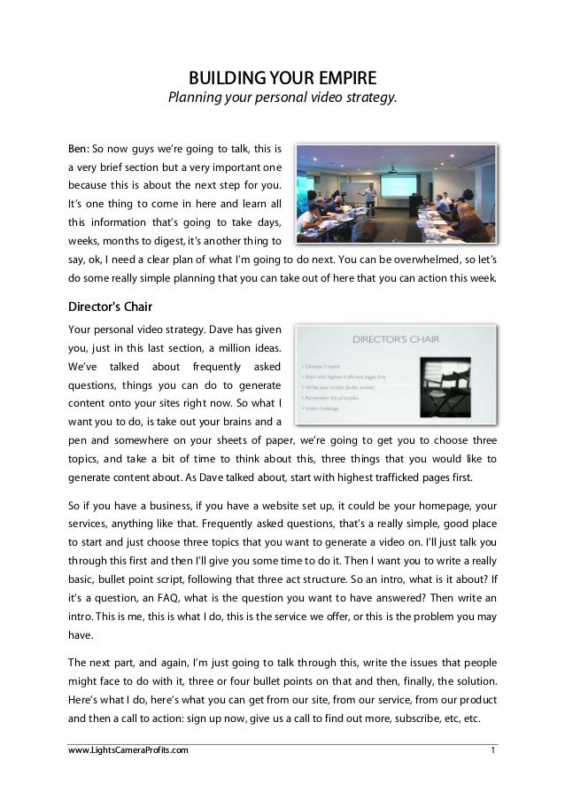 Planning A Personalised Web Video Strategy