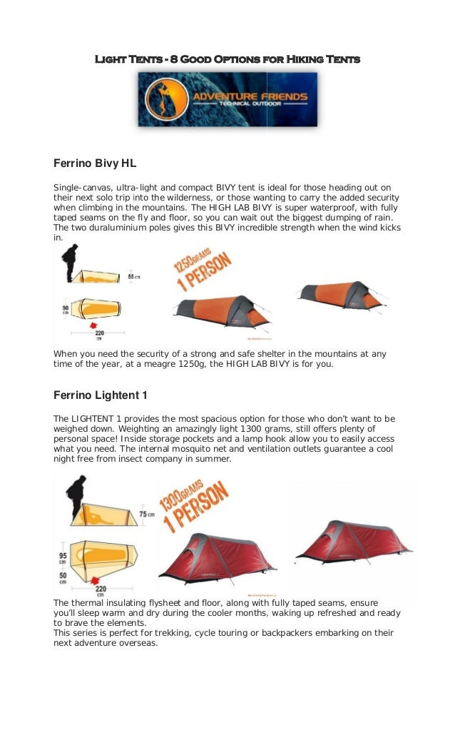 Light Tents - 8 Good Options for Hiking TentsFerrino Bivy HLSingle-canvas, ultra-light and compact BIVY tent is ideal for ...