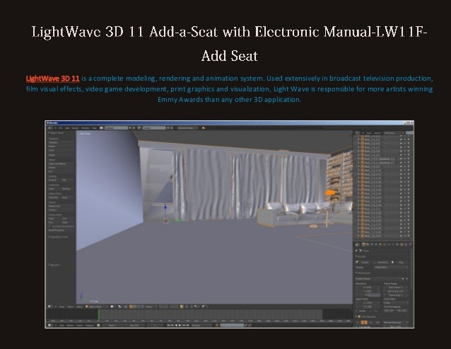 LightWave 3D 11 is a complete modeling, rendering and animation system. Used extensively in broadcast television productio...