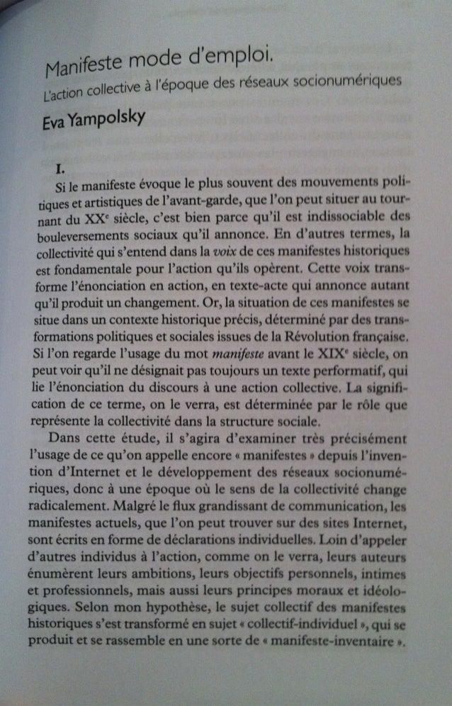 Lignes 40, Manifeste mode d'emploi, Eva Yampolsky