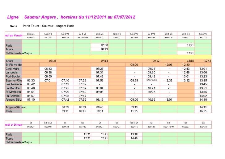 Ligne       Saumur Angers , horaires du 11/12/2011 au 07/07/2012      Sens     Paris Tours - Saumur - Angers Paris        ...