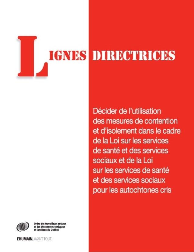 Lignes directrices   contention et isolement - 2011