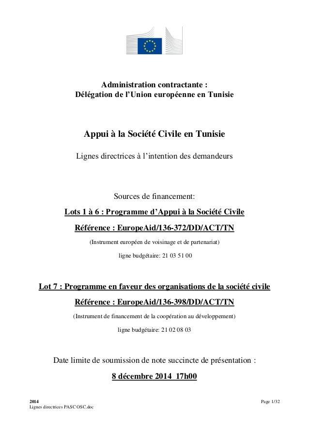 2014 Page 1/32 Lignes directrices PASC OSC.doc Administration contractante : Délégation de l'Union européenne en Tunisie A...