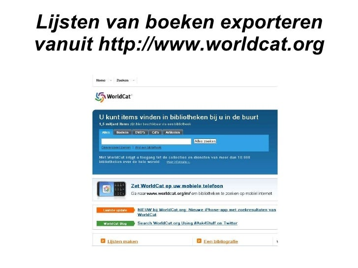 Lijsten van boeken exporteren worldcat