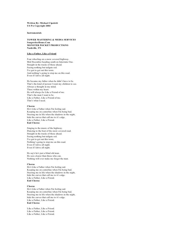 Written By: Michael Cipoletti US PA Copyright 2004  Instrumentals  TOWER MASTERING & MEDIA SERVICES SongwriterDemo.Com MON...