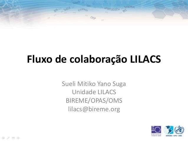 Fluxo de colaboração LILACSSueli Mitiko Yano SugaUnidade LILACSBIREME/OPAS/OMSlilacs@bireme.org