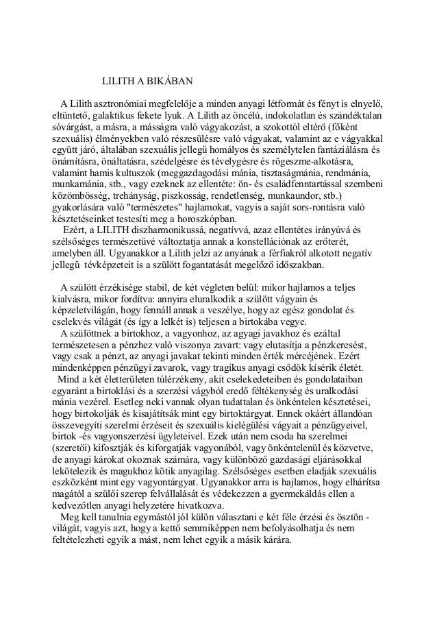 Kozma Szilárd asztrológus: Az emeriség nagy titka a Lilit. Lilith a Bikában