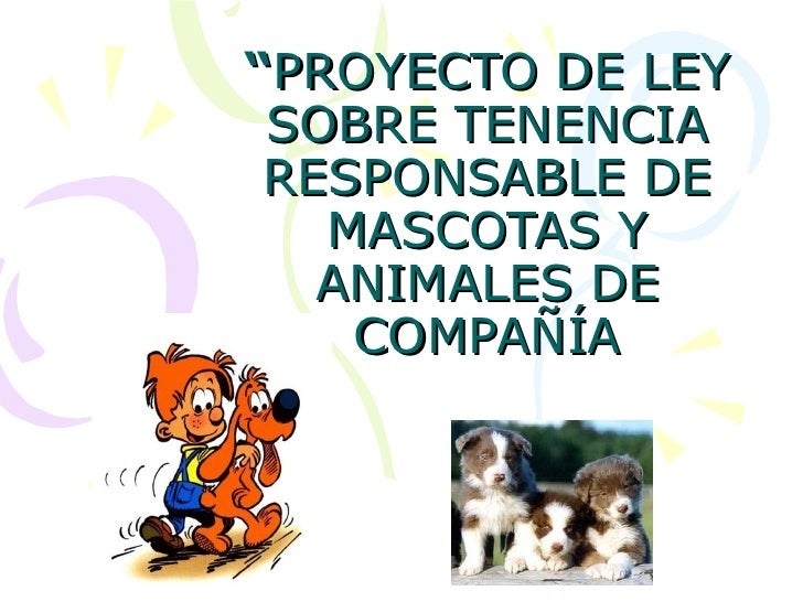 """"""" PROYECTO DE LEY SOBRE TENENCIA RESPONSABLE DE MASCOTAS Y ANIMALES DE COMPAÑÍA"""