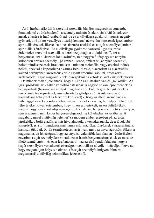 Kozma Szilárd karma-asztrológus: Az emberiség nagy titka a Lilit:  Lilit az első házban