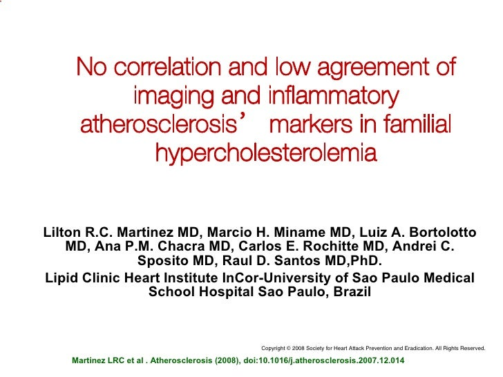 No correlation and low agreement of imaging and inflammatory atherosclerosis' markers in familial hypercholesterolemia Lil...