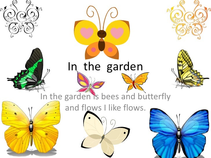 In  the  garden<br />In the garden is bees and butterfly and flows I like flows.<br />