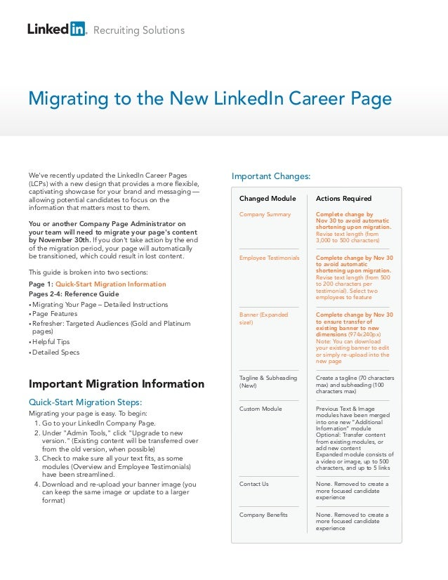 Recruiting SolutionsMigrating to the New LinkedIn Career PageWeve recently updated the LinkedIn Career Pages           Imp...