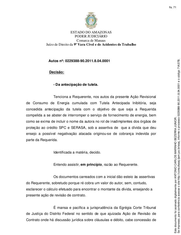 fls. 71                              ESTADO DO AMAZONAS                                 PODER JUDICIÁRIO                  ...