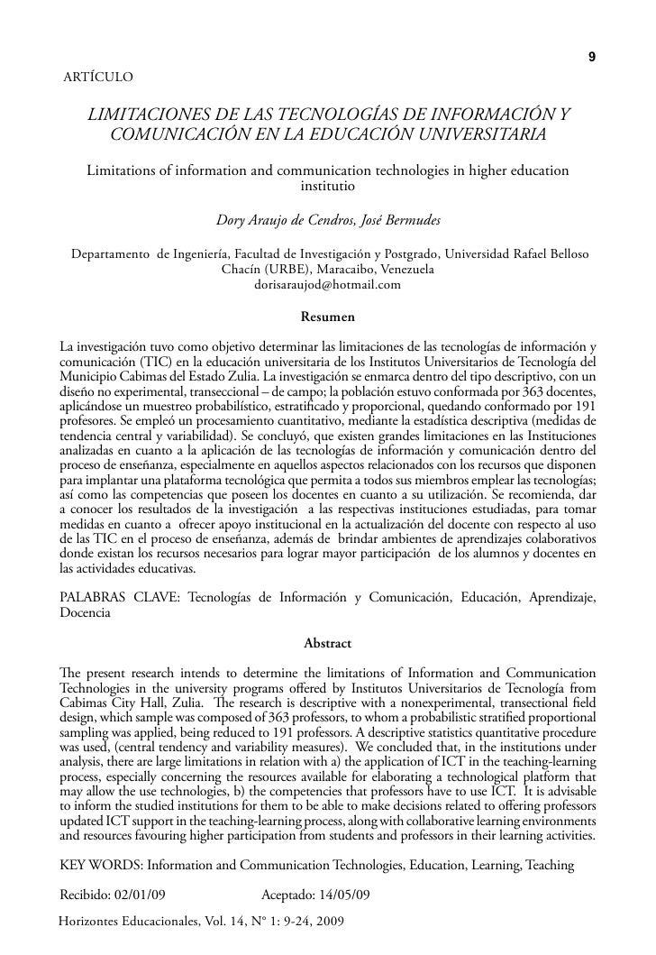 9 ARTÍCULO       LIMITACIONES DE LAS TECNOLOGÍAS DE INFORMACIÓN Y        COMUNICACIÓN EN LA EDUCACIÓN UNIVERSITARIA      L...