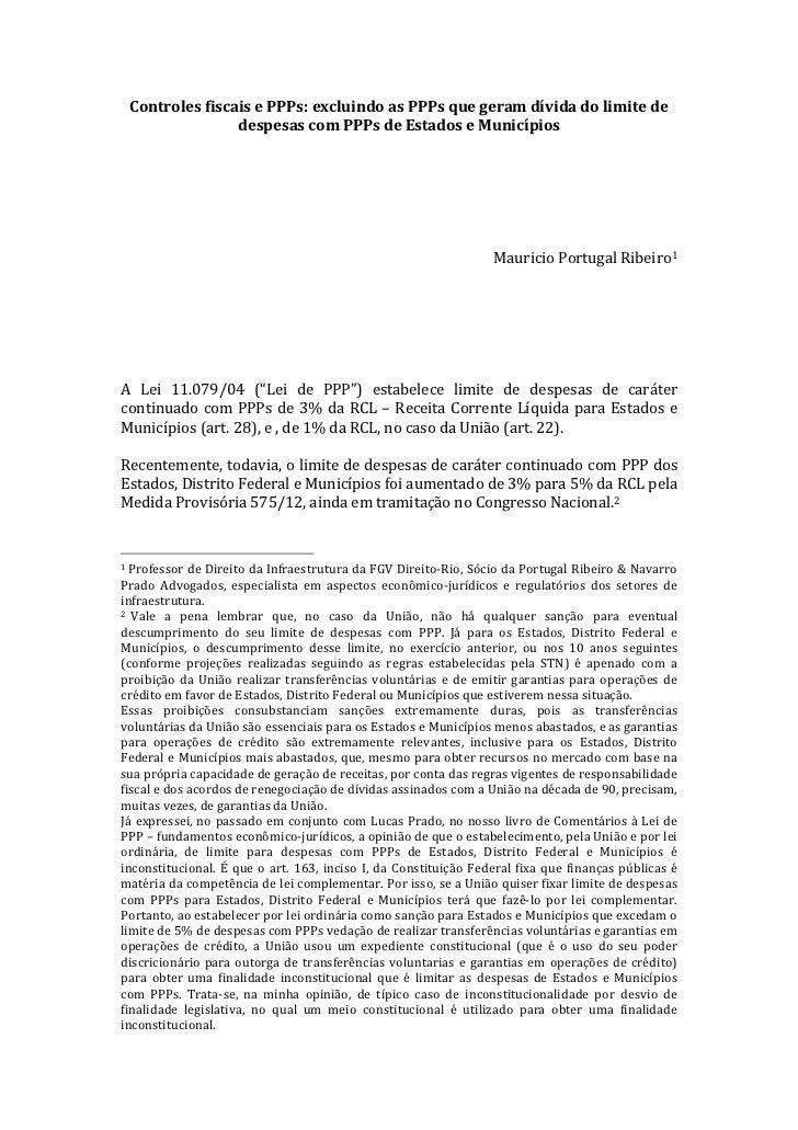 Controles fiscais e PPPs: excluindo as PPPs que geram dívida do limite de                       ...