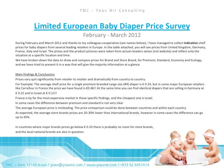 Limited european baby diaper price survey