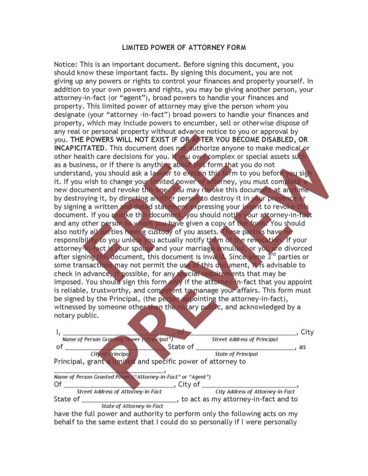 Special Power of Attorney Forms