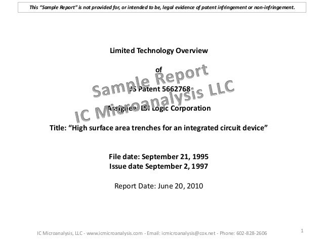 """Limited Technology Overview of US Patent 5662768 Assignee: LSI Logic Corporation Title: """"High surface area trenches for an..."""