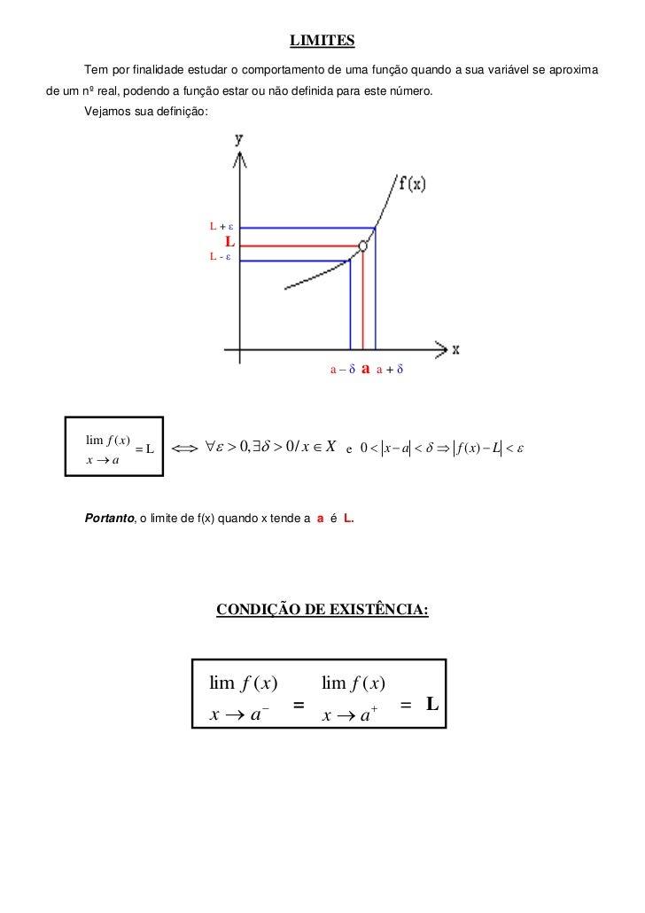 LIMITES       Tem por finalidade estudar o comportamento de uma função quando a sua variável se aproximade um nº real, pod...