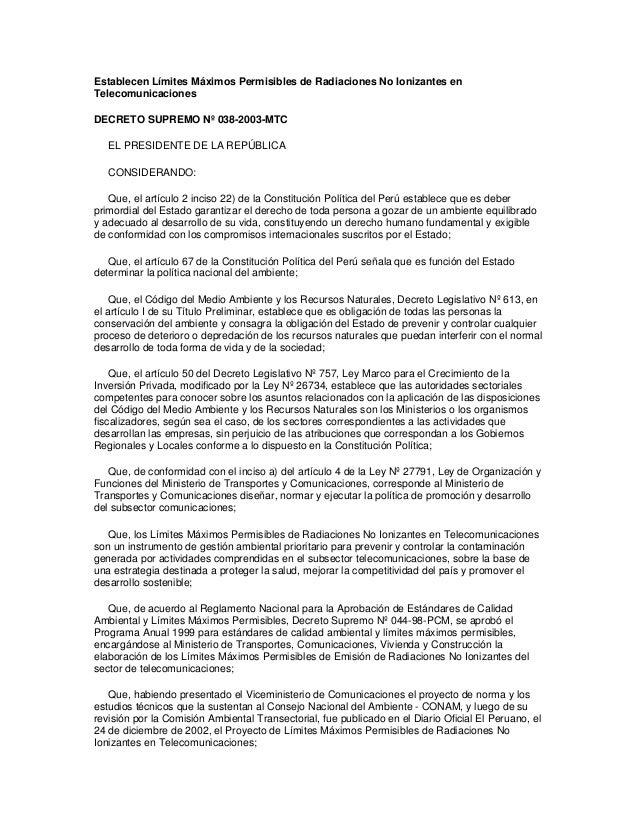 Establecen Límites Máximos Permisibles de Radiaciones No Ionizantes en Telecomunicaciones DECRETO SUPREMO Nº 038-2003-MTC ...