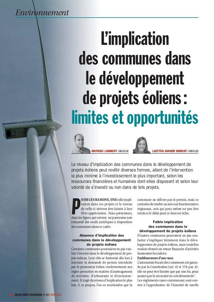 L'implication des communes dans le développement de projets éoliens : limites et opportunités