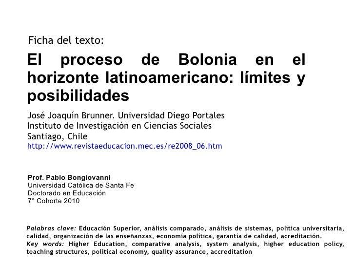 El proceso de Bolonia en el horizonte latinoamericano: límites y posibilidades