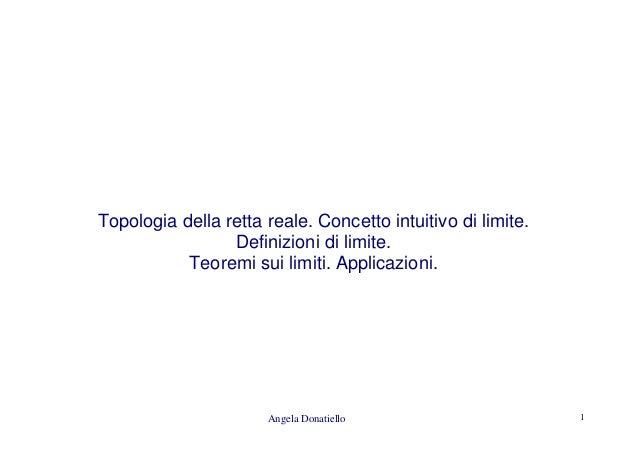 Angela Donatiello 1 Topologia della retta reale. Concetto intuitivo di limite. Definizioni di limite. Teoremi sui limiti. ...