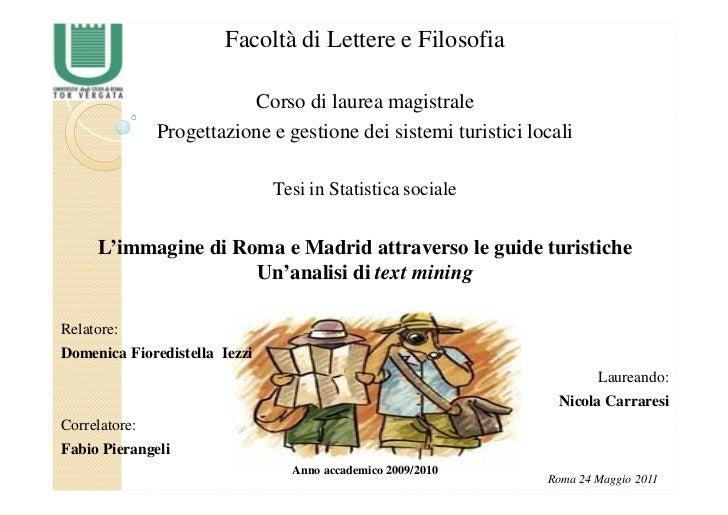 L'immagine di Roma e Madrid attraverso le Guide Turistiche: un'analisi di text mining