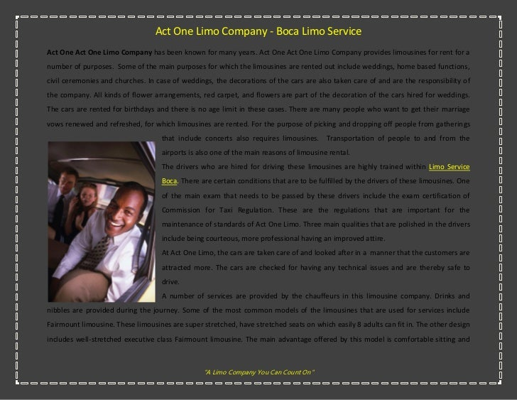 Act One Limo Company - Boca Limo ServiceAct One Act One Limo Company has been known for many years. Act One Act One Limo C...