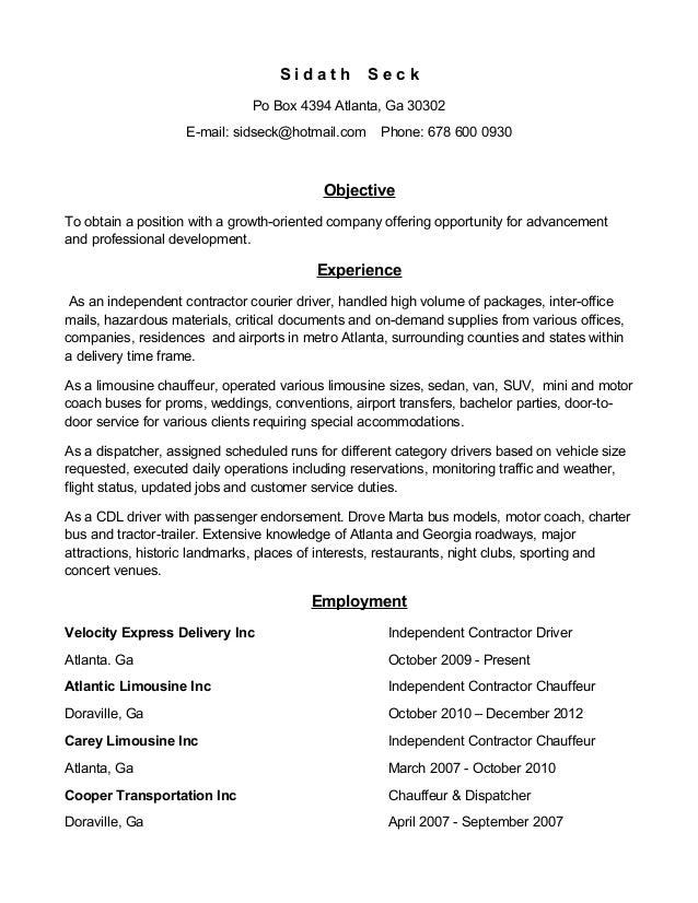 limousine resume
