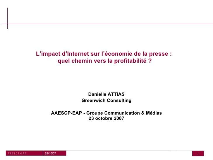 L'impact d'Internet sur l'économie de la presse :                             quel chemin vers la profitabilité ?         ...