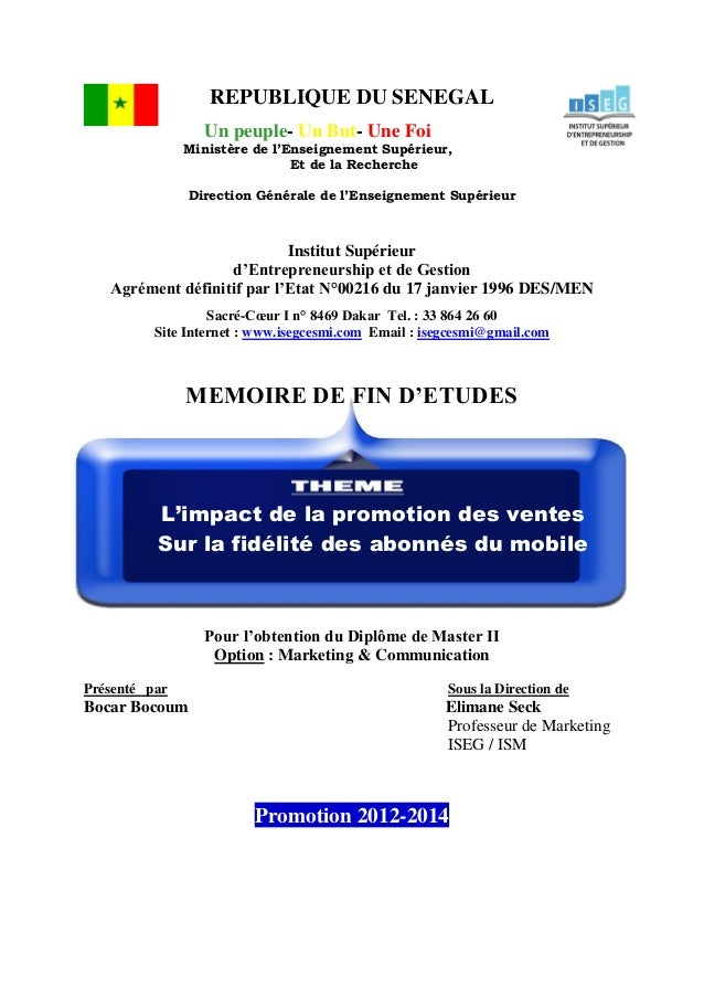REPUBLIQUE DU SENEGAL Un peuple- Un But- Une Foi Ministère de l'Enseignement Supérieur, Et de la Recherche Direction Génér...