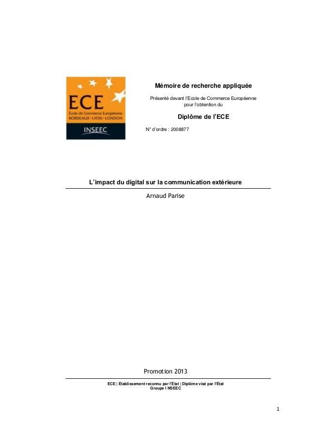 Mémoire de recherche appliquée Présenté devant l'Ecole de Commerce Européenne pour l'obtention du  Diplôme de l'ECE N° d'o...