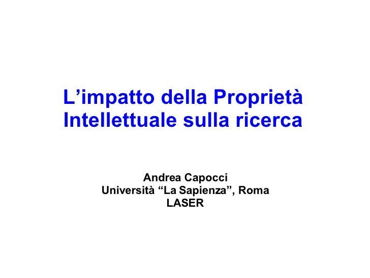 L'impatto della proprietà intellettuale sulla ricerca