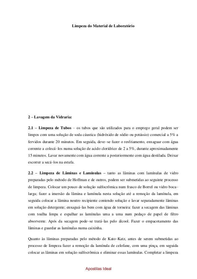 Limpeza de vidrarias de laboratório pdf