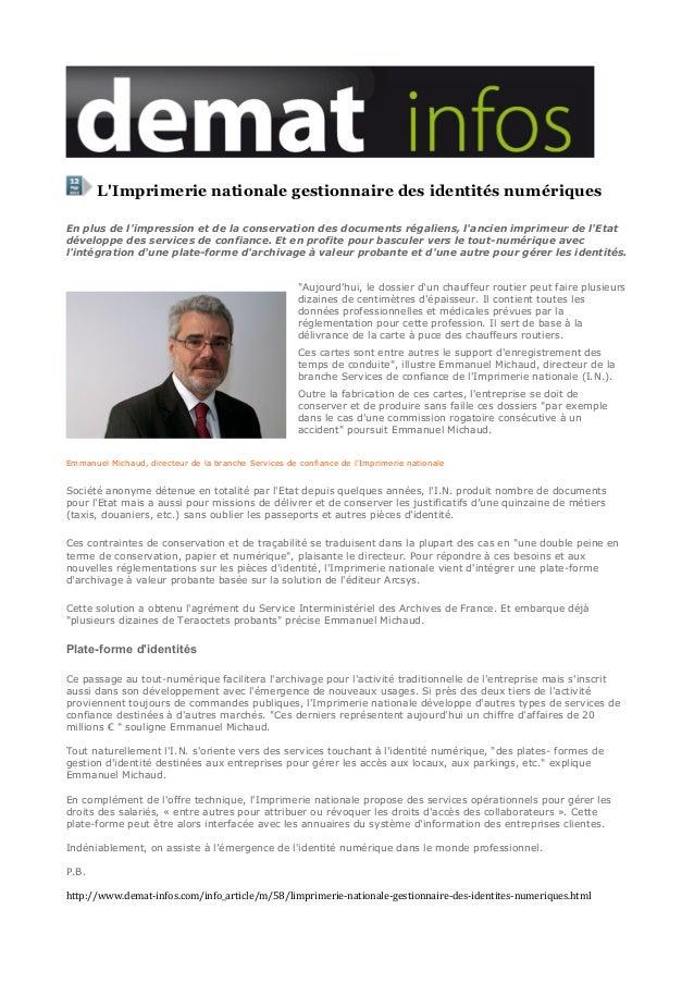 L'imprimerie nationale gestionnaire des identités numériques 12 05 2013 demat infos