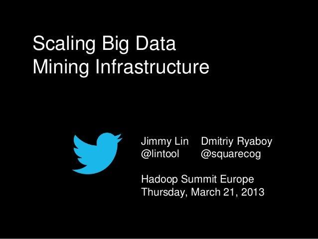 Scaling Big DataMining Infrastructure            Jimmy Lin   Dmitriy Ryaboy            @lintool    @squarecog            H...