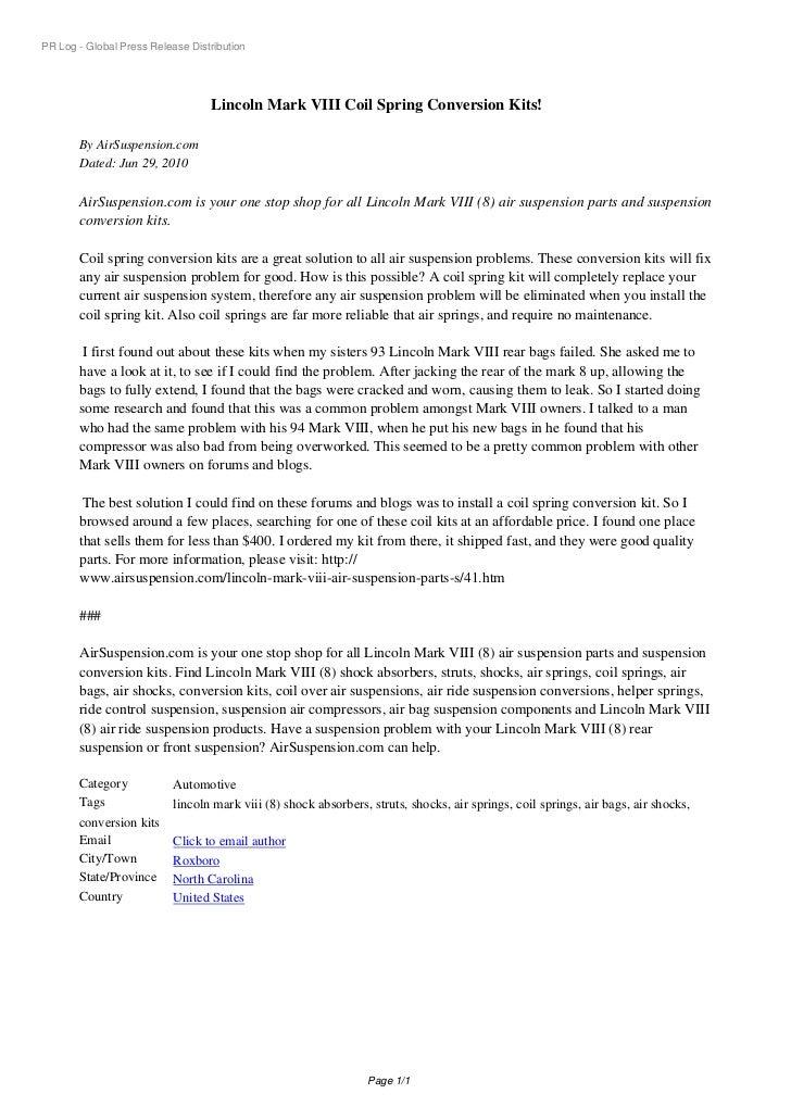PR Log - Global Press Release Distribution                                  Lincoln Mark VIII Coil Spring Conversion Kits!...