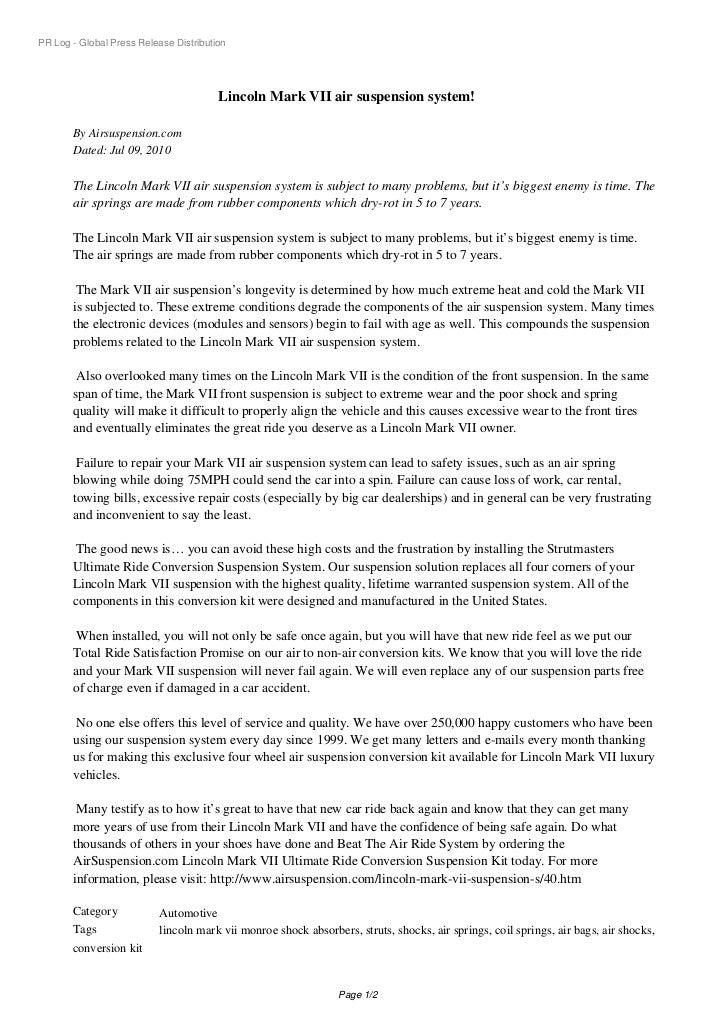 PR Log - Global Press Release Distribution                                        Lincoln Mark VII air suspension system! ...