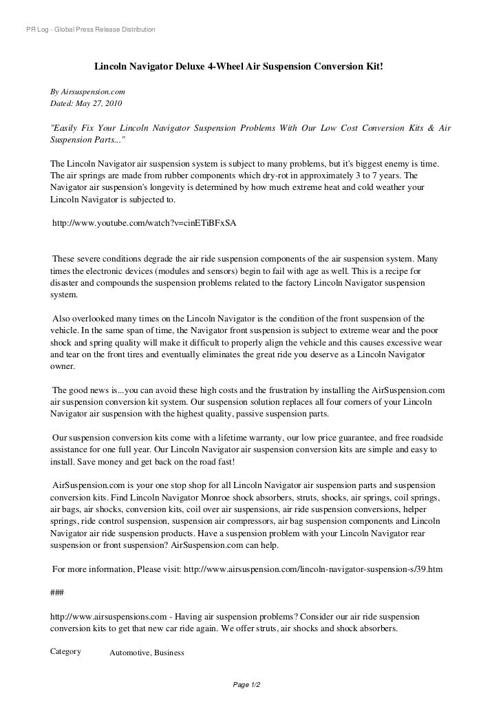 PR Log - Global Press Release Distribution                      Lincoln Navigator Deluxe 4-Wheel Air Suspension Conversion...