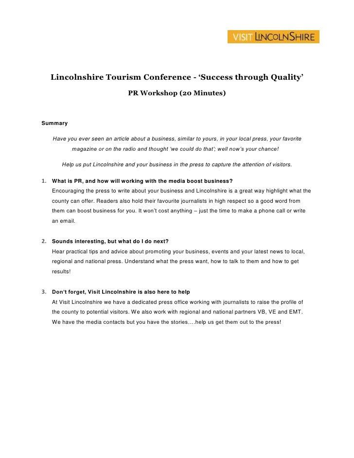 Lincolnshire Tourism Conference  Pr Workshop