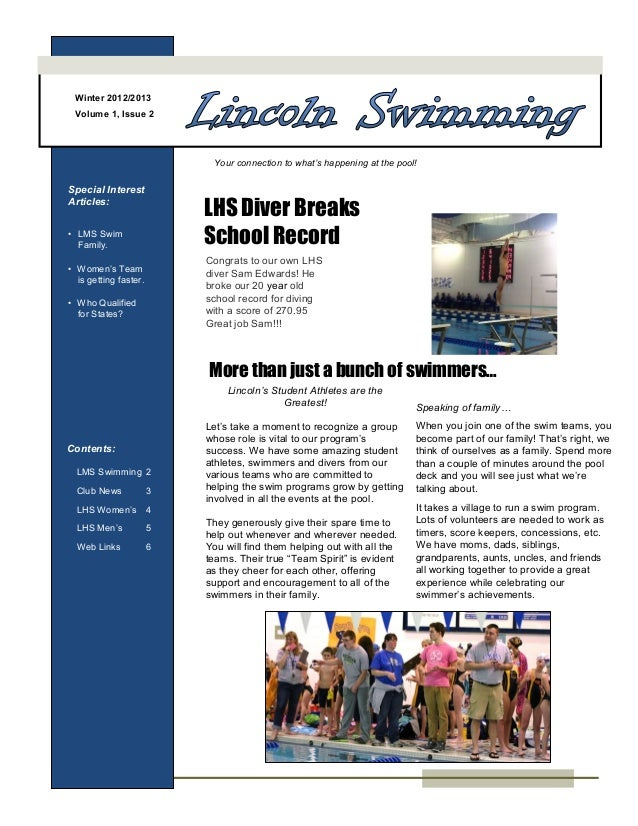 Winter 2012/2013 Volume 1, Issue 2                            Your connection to what's happening at the pool!Special Inte...