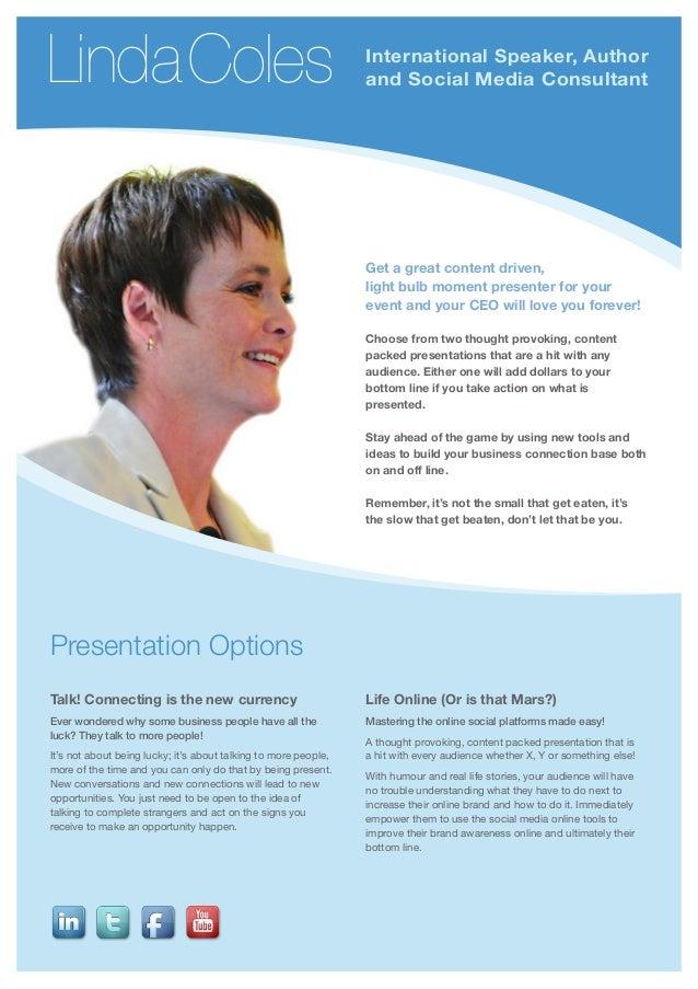 Linda coles speaking brochure