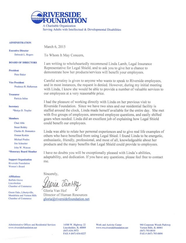 Letter Of Recommendation From Riverside Foundation