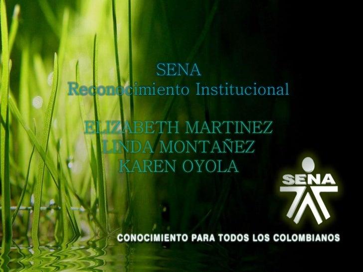 SENAReconocimiento Institucional  ELIZABETH MARTINEZ    LINDA MONTAÑEZ      KAREN OYOLA