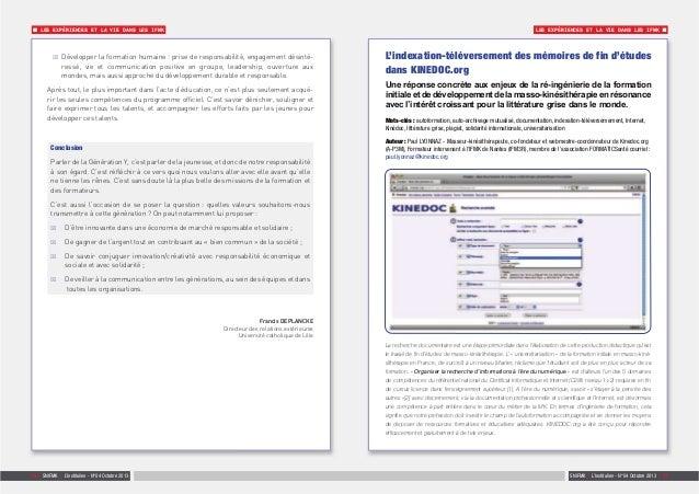 SNIFMK | L'Institulien - N°04 Octobre 2013 | 1716 | SNIFMK | L'Institulien - N°04 Octobre 2013 LES EXPÉRIENCES ET LA VIE D...
