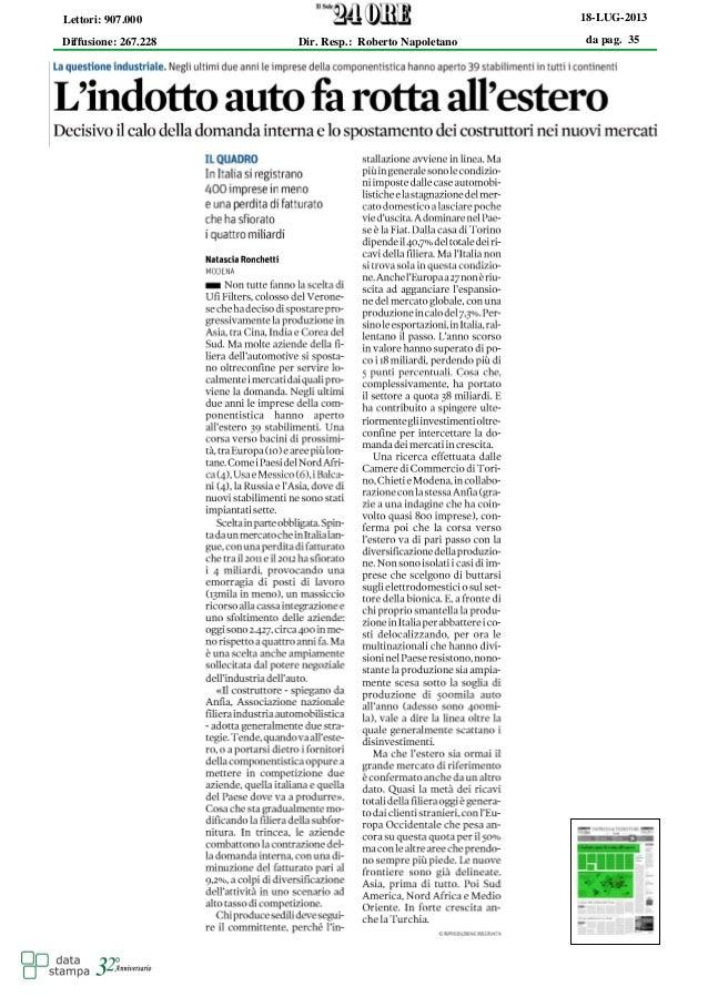 da pag. 35 18-LUG-2013 Diffusione: 267.228 Lettori: 907.000 Dir. Resp.: Roberto Napoletano