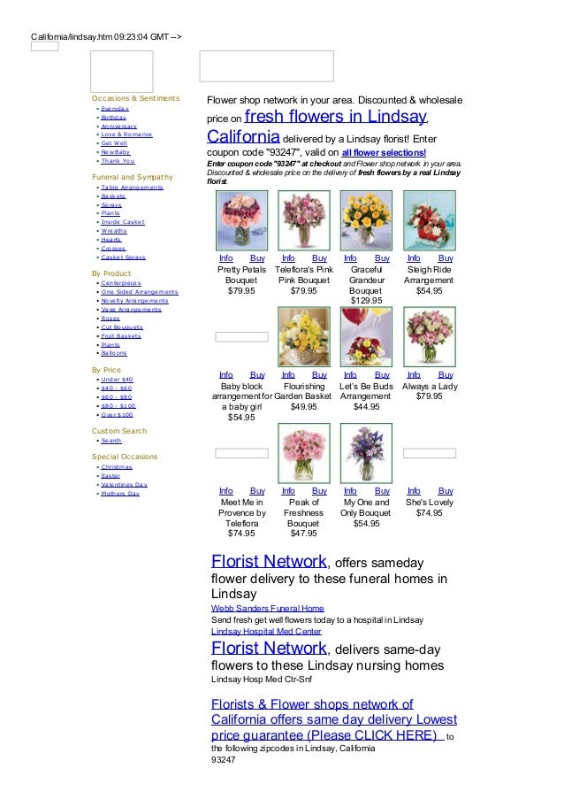 California/lindsay.htm 09:23:04 GMT -->               Occasions & Sentiments          Flower shop network in your area. Di...